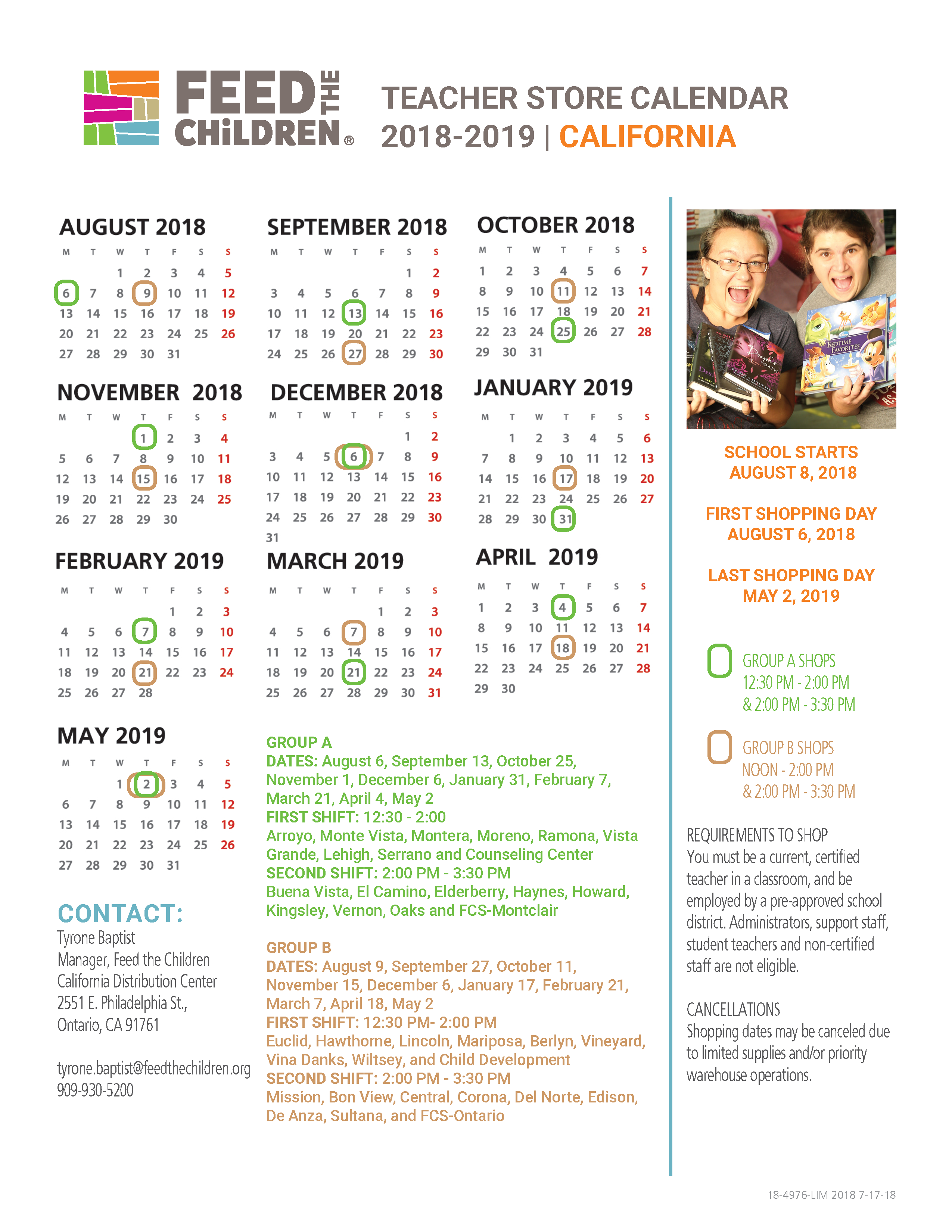 California Teacher Store Calendar